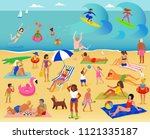 summer vacation. lots of people ... | Shutterstock .eps vector #1121335187