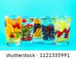 various detox water in glasses  ... | Shutterstock . vector #1121335991