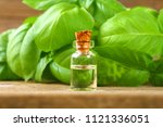 a bottle of basil essential oil ... | Shutterstock . vector #1121336051