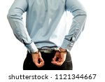 the man in handcuffs ... | Shutterstock . vector #1121344667