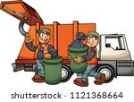 cartoon garbage men with truck  ... | Shutterstock .eps vector #1121368664