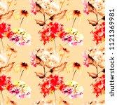seamless wallpaper with gerber...   Shutterstock . vector #1121369981