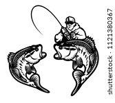 set of big bass fish... | Shutterstock .eps vector #1121380367