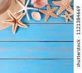 beach summer starfish...   Shutterstock . vector #1121384669