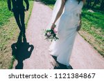 the bridegroom goes for the... | Shutterstock . vector #1121384867