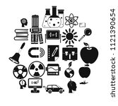 discoveries icons set. simple... | Shutterstock .eps vector #1121390654