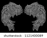 hand drawn vintage wings pair....   Shutterstock .eps vector #1121400089