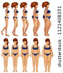 front and side of woman body... | Shutterstock .eps vector #1121408351
