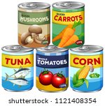 a set of can food illustration | Shutterstock .eps vector #1121408354