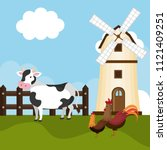 animals in the farm scene | Shutterstock .eps vector #1121409251