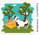 cows in the farm scene | Shutterstock .eps vector #1121409311