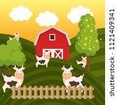cows in the farm scene   Shutterstock .eps vector #1121409341