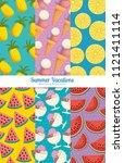 fresh fruits set patterns... | Shutterstock .eps vector #1121411114
