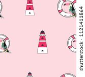 travel seamless pattern with... | Shutterstock .eps vector #1121411864