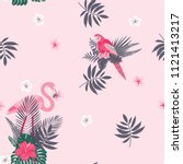 tropical seamless pattern with... | Shutterstock .eps vector #1121413217