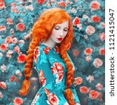 Small photo of Young beautiful redhead girl with very long hair braided in plait on rose background. Fabulous renaissance woman in a flower dress against the backdrop of a beautiful rose bush. Doll with plait