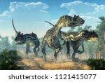 Three Allosauruses Kick Up Dust ...