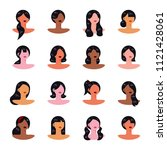a variety of female hair style... | Shutterstock .eps vector #1121428061