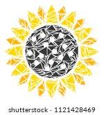 sunflower mosaic of triangle... | Shutterstock .eps vector #1121428469