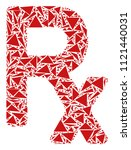 rx symbol collage of triangle... | Shutterstock .eps vector #1121440031