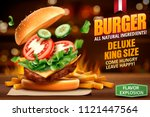 deluxe king size burger ads... | Shutterstock .eps vector #1121447564