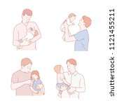 father who cares for a child.... | Shutterstock .eps vector #1121455211