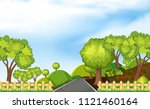 scene of a road in the forrest... | Shutterstock .eps vector #1121460164