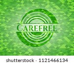 carefree realistic green emblem.... | Shutterstock .eps vector #1121466134