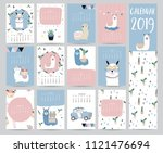 cute monthly calendar 2019 with ... | Shutterstock .eps vector #1121476694