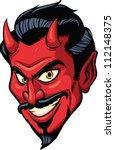 smiling devil face. vector... | Shutterstock .eps vector #112148375