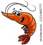 vector cartoon happy shrimp | Shutterstock .eps vector #1121483777