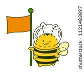 cute little bumblebee ink hand... | Shutterstock .eps vector #1121483897