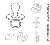 birth of a baby outline icons...   Shutterstock .eps vector #1121502821