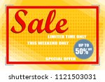 sale  banner sale on an orange... | Shutterstock .eps vector #1121503031