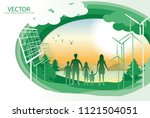 vector family hold hand and... | Shutterstock .eps vector #1121504051
