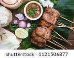 barbecue pork toast grill or... | Shutterstock . vector #1121506877