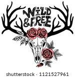 boho chic. hand drawn reindeer... | Shutterstock .eps vector #1121527961