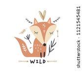 vector cute fox art  woodland...   Shutterstock .eps vector #1121545481