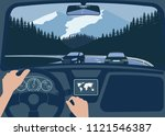view of the road from the car...   Shutterstock . vector #1121546387