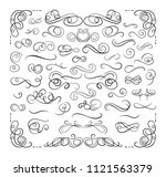 vector set of swirly... | Shutterstock .eps vector #1121563379