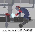 worker welds large metal pipes... | Shutterstock .eps vector #1121564987
