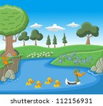 a mother duck swimming with her ... | Shutterstock .eps vector #112156931