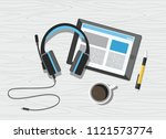 acoustic headphones with tablet ... | Shutterstock .eps vector #1121573774