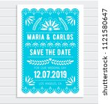 Stock vector vector save the date invitation template papel picado banner with floral pattern mexican paper 1121580647