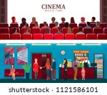 cinema and movie time colorful... | Shutterstock .eps vector #1121586101