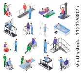 physiotherapy rehabilitation... | Shutterstock .eps vector #1121593025