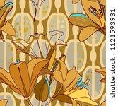 trendy floral seamless pattern... | Shutterstock .eps vector #1121593931