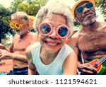 closeup of diverse senior... | Shutterstock . vector #1121594621