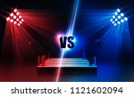 boxing ring arena vs letters... | Shutterstock .eps vector #1121602094