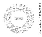 hand drawn doodle set of online ... | Shutterstock .eps vector #1121602121